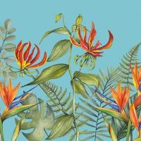 Servietten 33x33 cm - Tropical Flowers Petrol