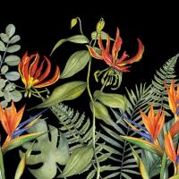 Servietten 33x33 cm - Tropische Blumen Schwarz
