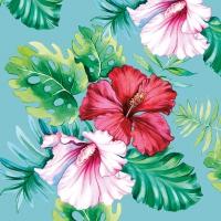 Servietten 33x33 cm - Hisbiscus Floral Petrol