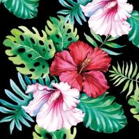 Servietten 33x33 cm - Hisbiscus Floral Black
