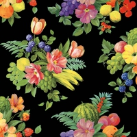 Servietten 33x33 cm - Flowers and Fruits Black