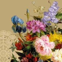 Servietten 33x33 cm - Still Life Bouquet Gold