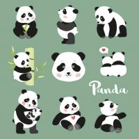 Servietten 33x33 cm - Panda Bears
