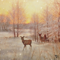 Servietten 33x33 cm - Deer At Sunset