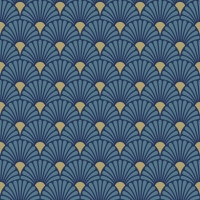 Servietten 33x33 cm - Art Deco Blue/Gold