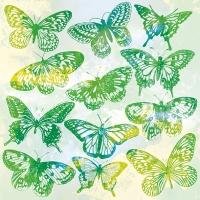 Servietten 33x33 cm - Aquarell Butterflies Green