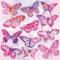 Servietten 33x33 cm - Aquarell Butterflies Pink