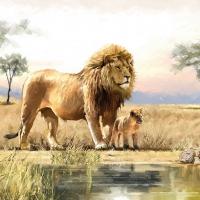 Servietten 33x33 cm - Lions