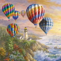 Servietten 33x33 cm - Hot Air Balloons