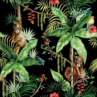 Servietten 33x33 cm - Orangutan Black