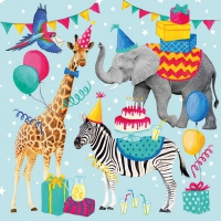 Servietten 33x33 cm - Animal Birthday Blue
