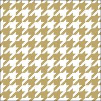 Servietten 33x33 cm - Pied-de-Poule Gold/White