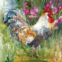 Servietten 33x33 cm - Aquarell Rooster