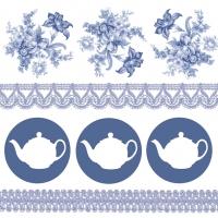 Servietten 33x33 cm - Teapots Blue