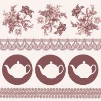 Servietten 33x33 cm - Teapots Brown