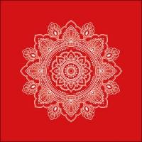 Servietten 33x33 cm - Mandala White/Red
