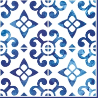 Servietten 33x33 cm - Nordisch Blau/ Kacheln