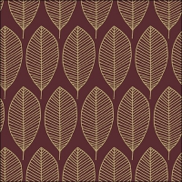 Servietten 33x33 cm - Oval Leaves Berry/Gold