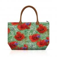 Handtasche - Shopping Bag Painted Poppies Green
