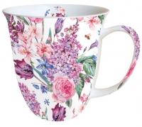 Porzellan-Tasse - Blütenkomposition Weiß