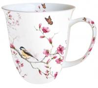 Porzellan-Tasse - Vogel & Blüte Weiß