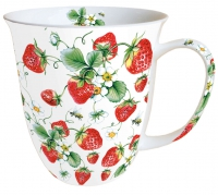 Porzellan-Tasse - Erdbeeren überall auf Weiß