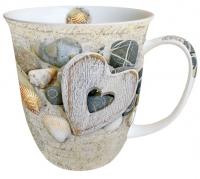 Porzellan-Tasse - Herzen und Steine