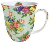 Porzellan-Tasse - Blumen und Früchte Grün