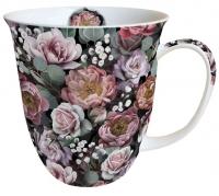 Porzellan-Tasse - Vintage Flowers Black