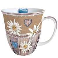 Porzellan-Tasse - Edelweiss On Wood