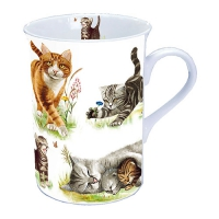 Porzellan-Tasse Cats Family