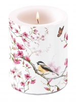 Dekorkerze - Vogel & Blüte Weiß
