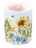 Dekorkerze - Sonnenblume und Weizenblau