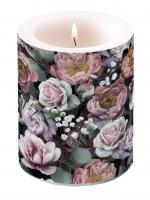 Dekorkerze - Vintage Flowers Black