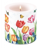 Dekorkerze klein - Tulpen & Muscari