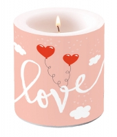 Dekorkerze klein - Love Balloons Pale Rose