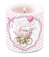 Dekorkerze klein - Willkommen rosa