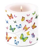 Dekorkerze klein - Colourful Butterflies