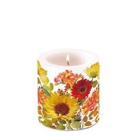 Dekorkerze klein - Sunny Flowers Cream