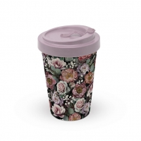 Bamboo mug To-Go - Vintage Flowers Black