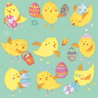 Servietten 25x25 cm - Easter Chicks Mint