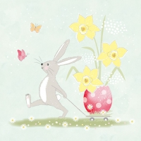 Servietten 33x33 cm - Walking Easter Bunny