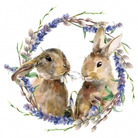 Servietten 33x33 cm - Rabbit Wreath