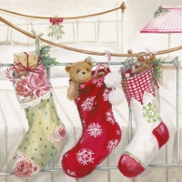 Servietten 25x25 cm - Christmas Stockings