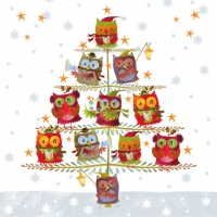 Cocktail Servietten Christmas Tree With Owls
