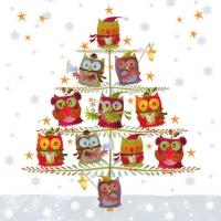 Servietten 25x25 cm - Weihnachtsbaum mit Eulen