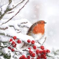 Servietten 25x25 cm - Robin im Schnee