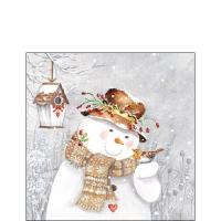 Servietten 25x25 cm - Snowman Holding Robin