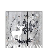 Servietten 25x25 cm - Wooden Scene Grey