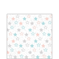 Servietten 25x25 cm - Stars All Over Petrol
